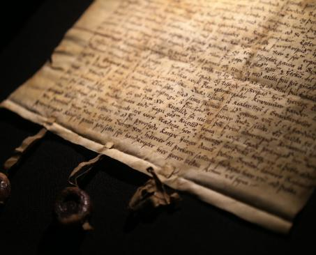 Manuscript on display in the Settlement Sagas Exhbition