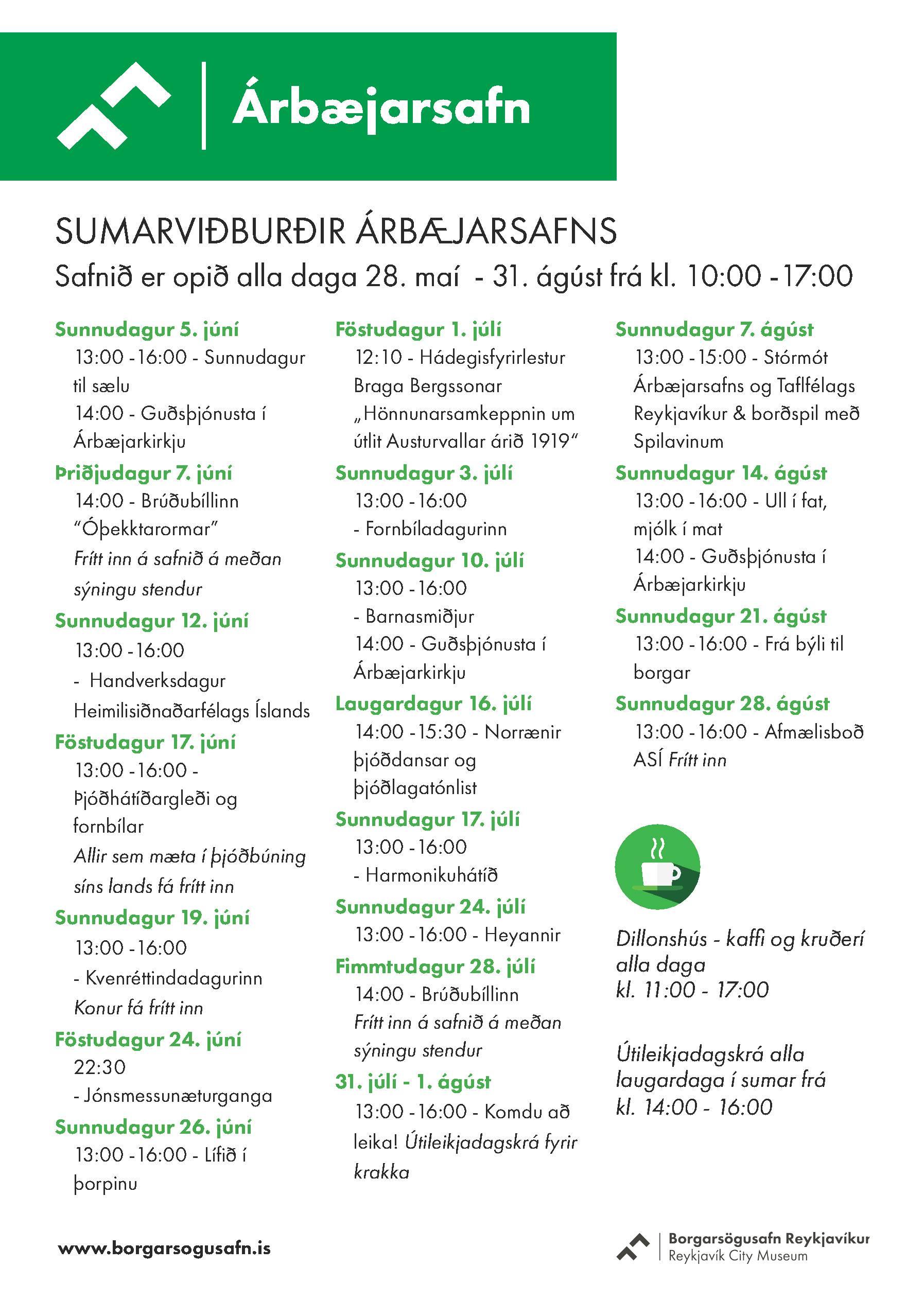 Sumardagskrá Árbæjarsafns 2016