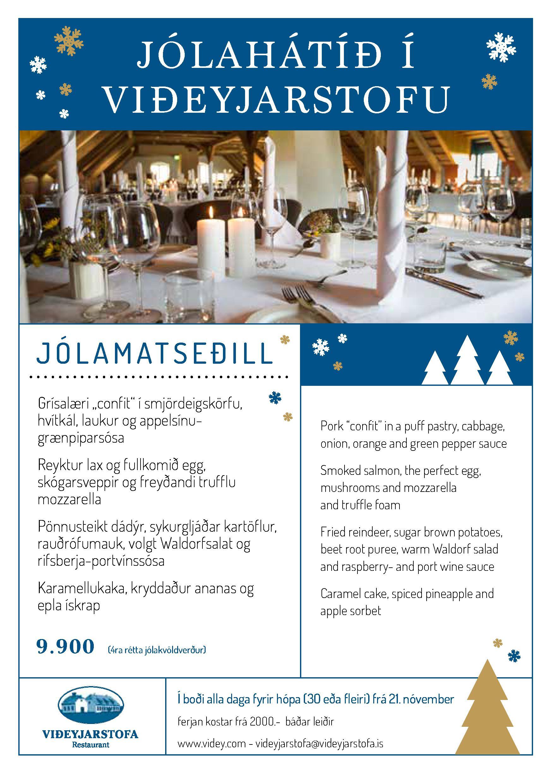 Jólamatseðill í Viðeyjarstofu 2019