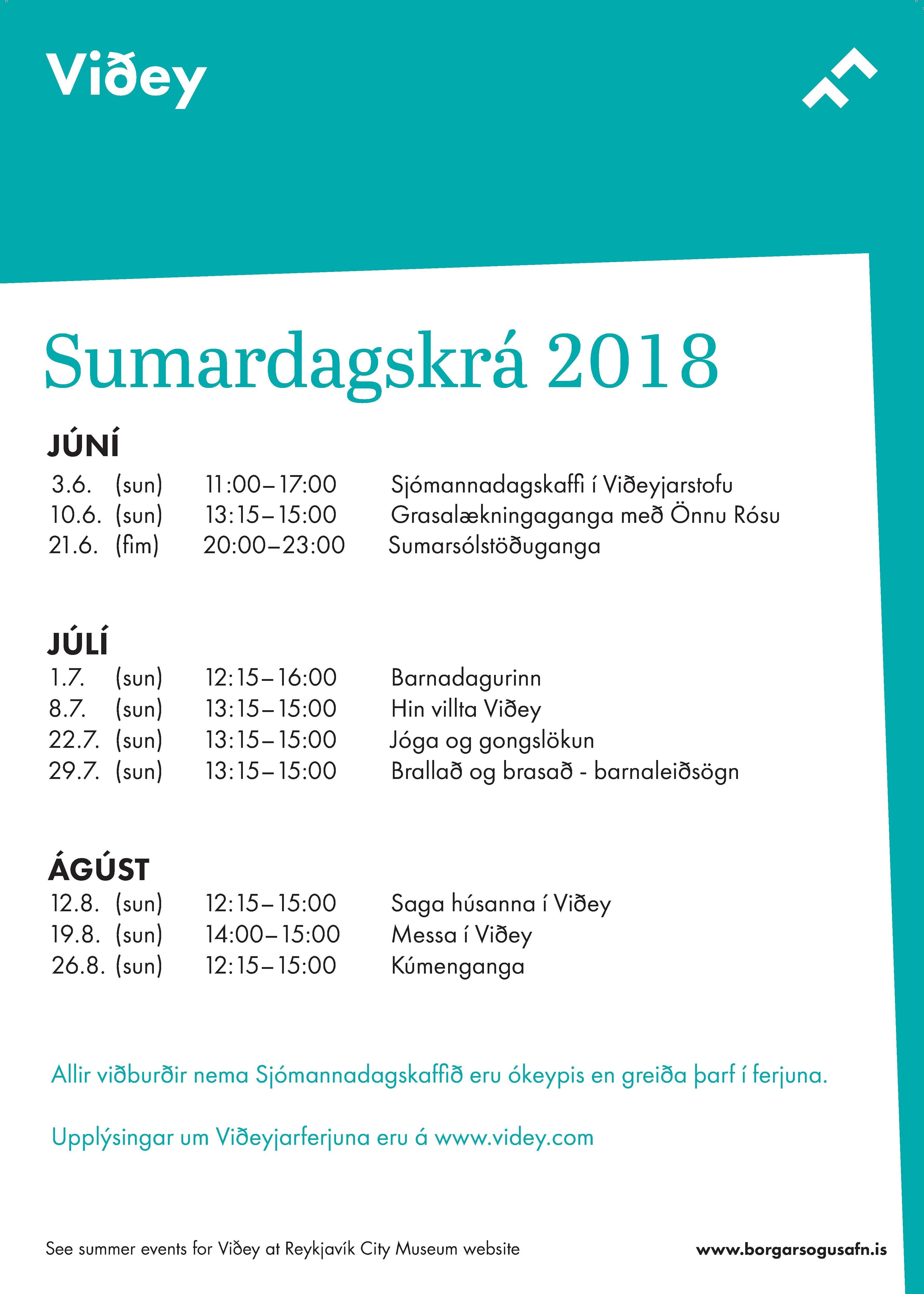 Sumardagskrá Viðeyjar 2018